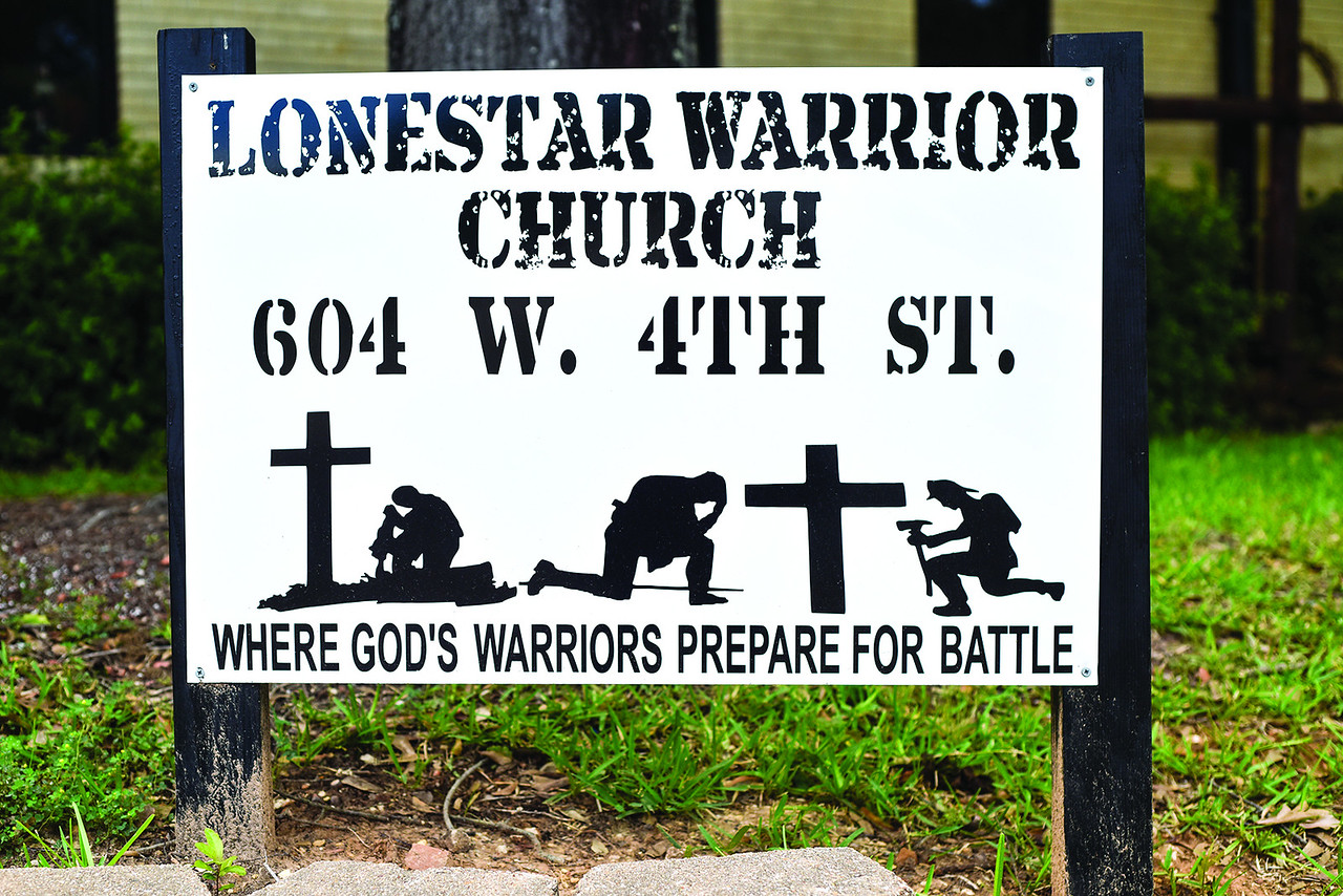 A sign outside of Lone Star Church in Tyler, Texas, on Thursday, June 1, 2017. The church ministers to veterans and first responders, and is specifically ministering to those who have PTSD. (Chelsea Purgahn/Tyler Morning Telegraph)