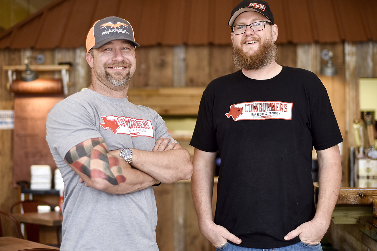 Co-owners Daniel Mosher and Jason Herring pose for a portrait at Cowburners in Mineola, Texas, on Thursday, June 1, 2017. The new restaurant features Texas barbecue staples that Jason Herring used to cook in a trailer food truck. (Chelsea Purgahn/Tyler Morning Telegraph)