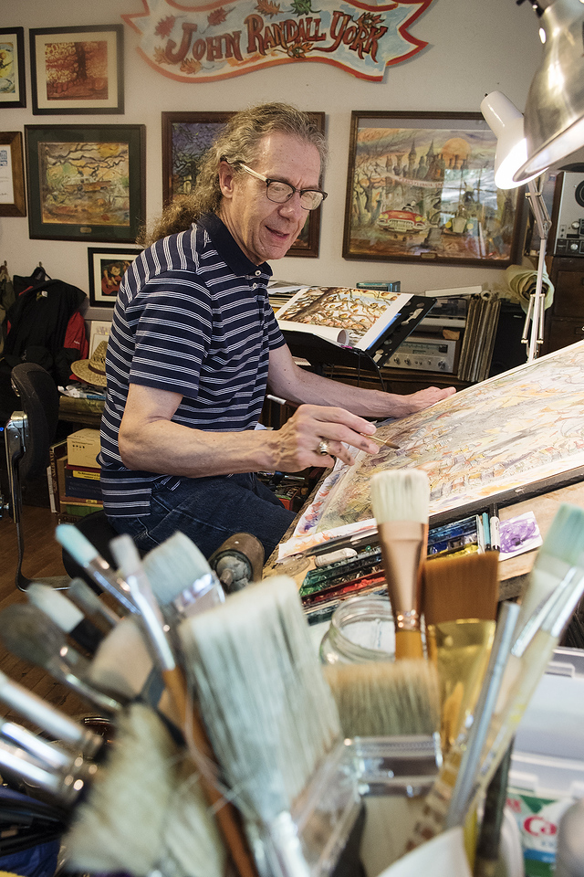 Artist John Randall York paints a large watercolor Halloween scene at his home in Tyler Tuesday May 23, 2017.   (Sarah A. Miller/Tyler Morning Telegraph)