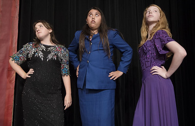 "Lauren Gluck, Keely Madsen and Jocelyn Herring stage a scene from their play ""Murder Mansion"" during the Thespians 'N Training theater arts camp held at the Cherokee Civic Theatre in downtown Rusk Wednesday July 26, 2017. The young campers have 40 hours to audition, rehearse, organize costumes and props and build sets to produce a one-act show. The plays will be performed for the public July 29.  (Sarah A. Miller/Tyler Morning Telegraph)"