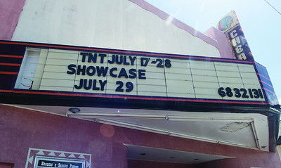 The marquee displays the date for the Thespians 'N Training theater arts camp showcase night at the Cherokee Civic Theatre in downtown Rusk Wednesday July 26, 2017. The children at the camp have 40 hours to audition, rehearse, organize costumes and props and build sets to produce a one-act show. The plays will be performed for the public July 29.  (Sarah A. Miller/Tyler Morning Telegraph)