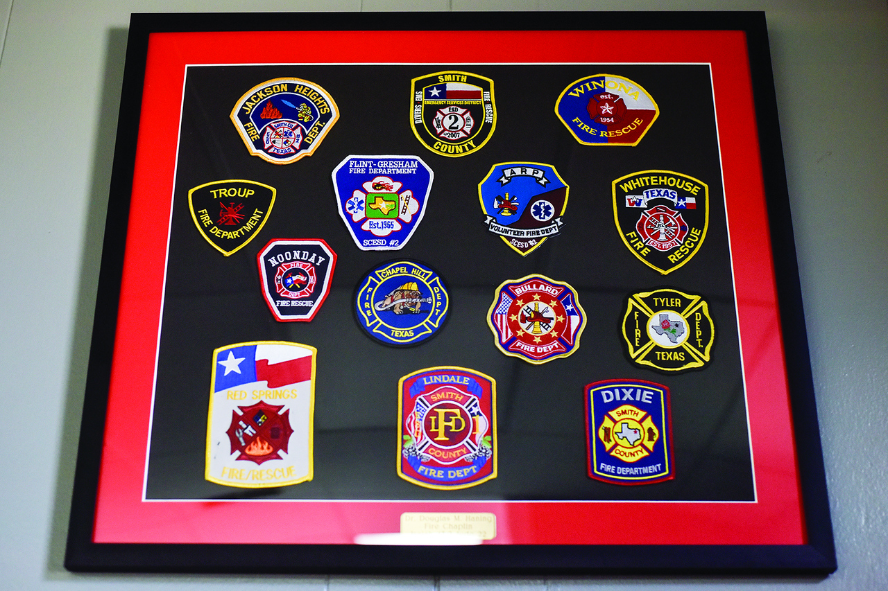 Various patches on display at Lone Star Church in Tyler, Texas, on Thursday, June 1, 2017. The church ministers to veterans and first responders, and is specifically ministering to those who have PTSD. (Chelsea Purgahn/Tyler Morning Telegraph)