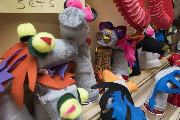 Sock puppet dragon props from the Thespians 'N Training theater arts camp are pictured backstage at the Cherokee Civic Theatre in downtown Rusk Wednesday July 26, 2017. The children at the camp have 40 hours to audition, rehearse, organize costumes and props and build sets to produce a one-act show. The plays will be performed for the public July 29.  (Sarah A. Miller/Tyler Morning Telegraph)
