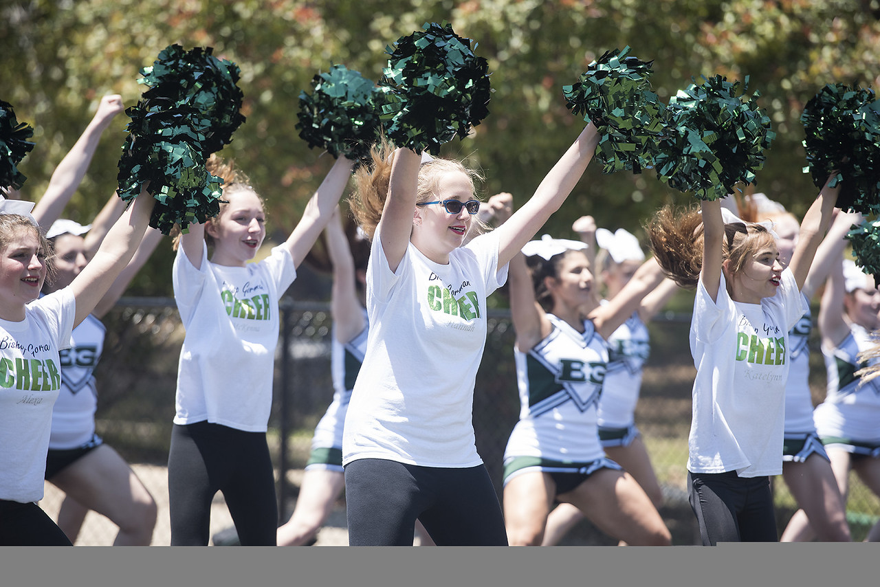 Cheerleaders perform at the ground blessing ceremony for the Brodnax Family Crusader Center at Bishop Thomas K. Gorman Cathedral School Thursday May 25, 2017. The 4.9 million dollar multi-purpose building will replace the existing field house. It will house locker rooms, a weight room, an area for drill, dance and cheer teams and to view films.   (Sarah A. Miller/Tyler Morning Telegraph)