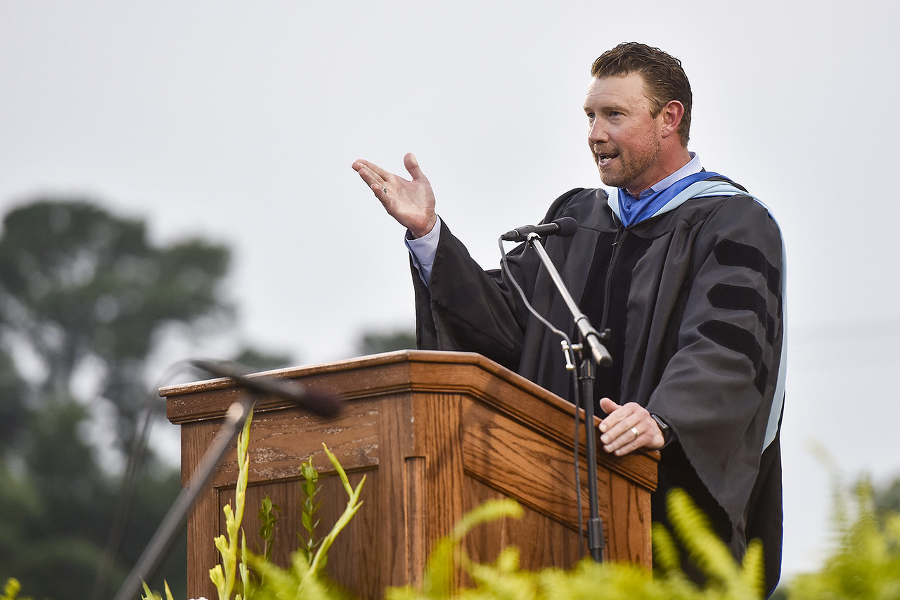 Dr. Dan Crawford speaks during Robert E. Lee High School's graduation ceremony at Trinity Mother Frances Rose Stadium in Tyler, Texas, on Friday, June 2, 2017. Thousands of friends and family members came to see the hundreds of seniors walk the stage for graduation. (Chelsea Purgahn/Tyler Morning Telegraph)