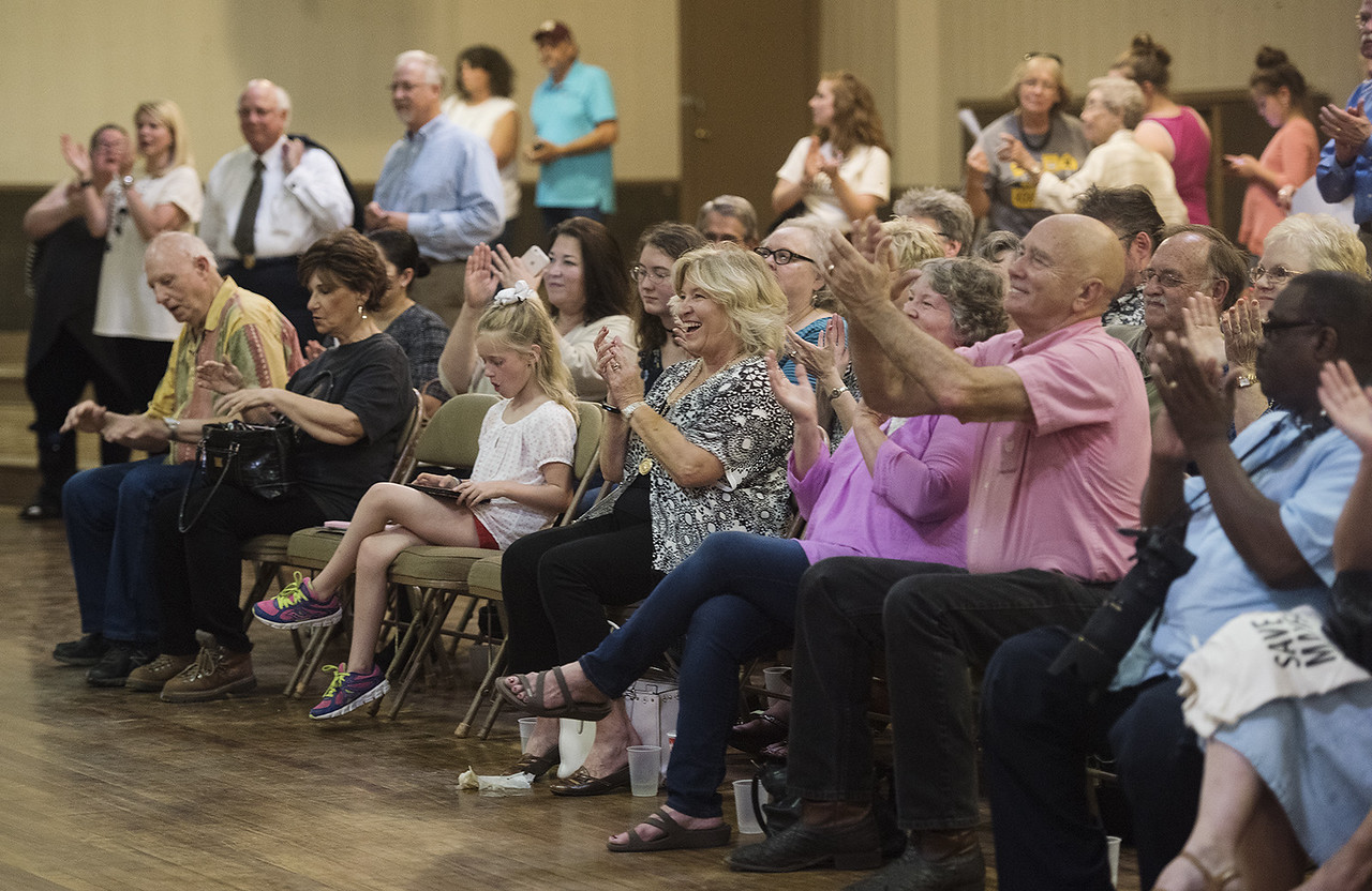People applaud during the subject marker dedication for the Mayfair Building Wednesday May 31, 2017 in Tyler.  (Sarah A. Miller/Tyler Morning Telegraph)