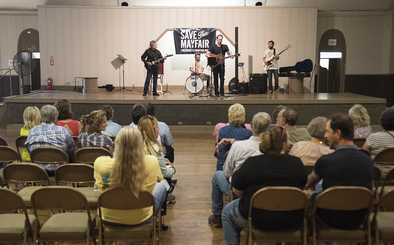 """Ronnie """"The Mouse"""" Weiss and Matt Magill perform at the subject marker dedication celebration for the Mayfair Building Wednesday May 31, 2017 in Tyler.  (Sarah A. Miller/Tyler Morning Telegraph)"""