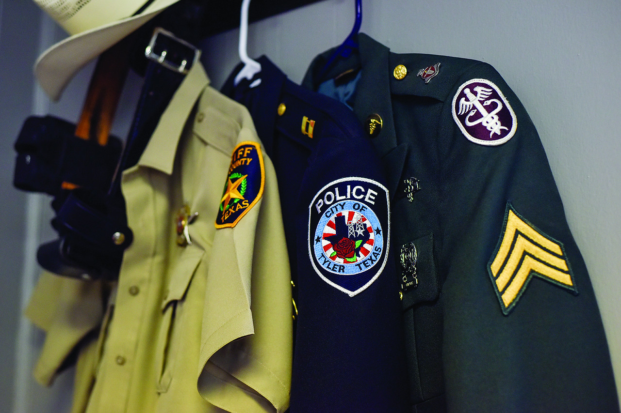 Various Tyler uniforms at Lone Star Church in Tyler, Texas, on Thursday, June 1, 2017. The church ministers to veterans and first responders, and is specifically ministering to those who have PTSD. (Chelsea Purgahn/Tyler Morning Telegraph)