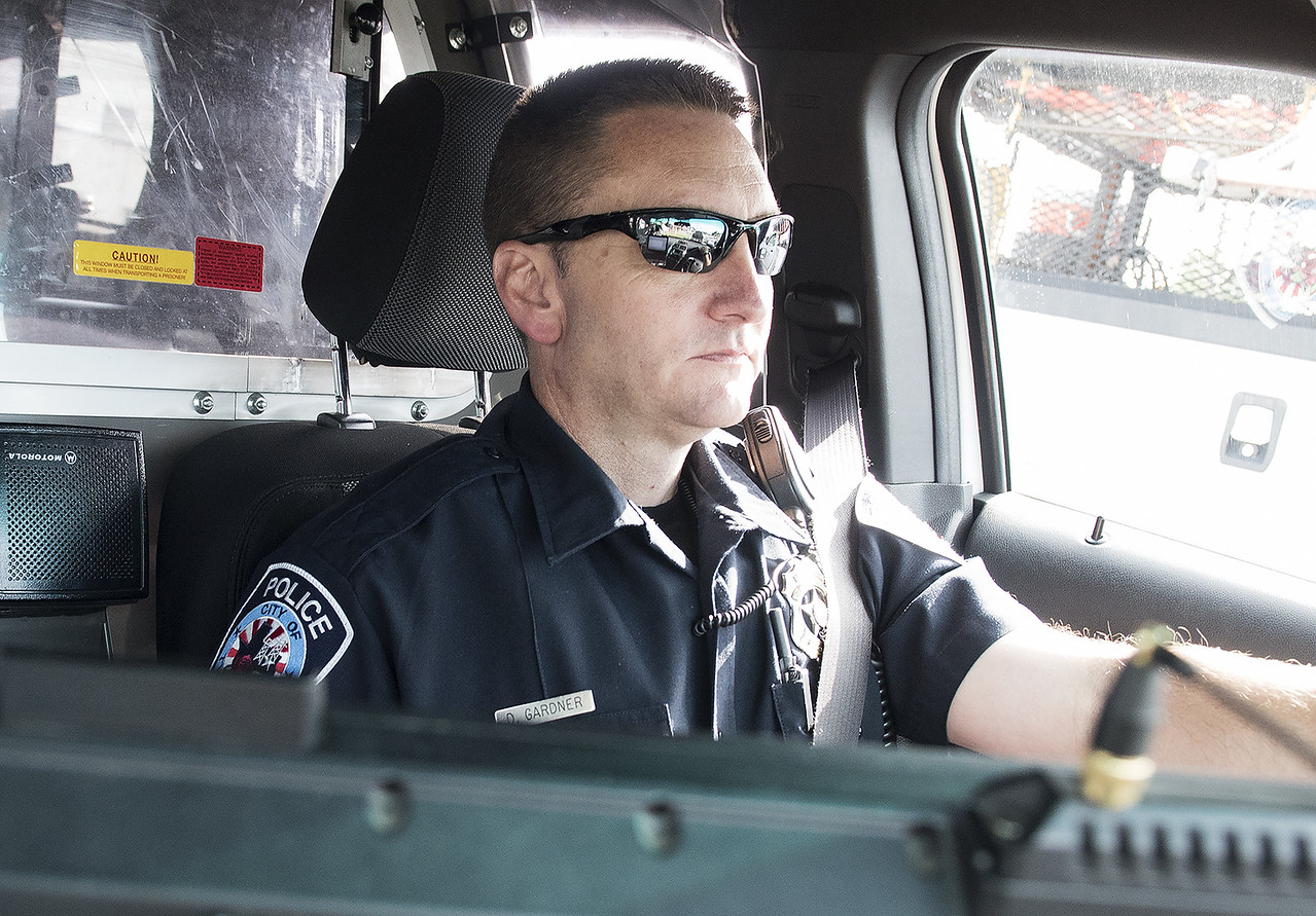 Tyler Police Officer Darrell Gardner drives to the  neighborhoods in his beat Tuesday morning May 30, 2017.  (Sarah A. Miller/Tyler Morning Telegraph)