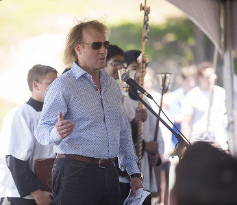 Donor Brett Brodnax speaks at the ground blessing ceremony for the new Brodnax Family Crusader Center at Bishop Thomas K. Gorman Cathedral School Thursday May 25, 2017. The 4.9 million dollar multi-purpose building will replace the existing field house. It will house locker rooms, a weight room, an area for drill, dance and cheer teams and to view films.   (Sarah A. Miller/Tyler Morning Telegraph)