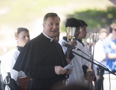 Very Rev. Dr. Anthony McLaughlin, speaks at the ground blessing ceremony for the new Brodnax Family Crusader Center at Bishop Thomas K. Gorman Cathedral School Thursday May 25, 2017. The 4.9 million dollar multi-purpose building will replace the existing field house. It will house locker rooms, a weight room, an area for drill, dance and cheer teams and to view films.   (Sarah A. Miller/Tyler Morning Telegraph)