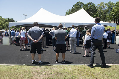 A large crowd attends the ground blessing ceremony for the new Brodnax Family Crusader Center at Bishop Thomas K. Gorman Cathedral School Thursday May 25, 2017. The 4.9 million dollar multi-purpose building will replace the existing field house. It will house locker rooms, a weight room, an area for drill, dance and cheer teams and to view films.   (Sarah A. Miller/Tyler Morning Telegraph)