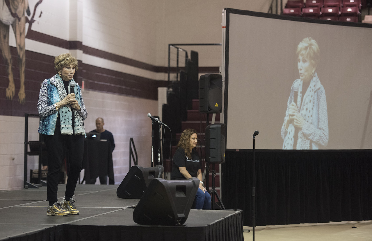 Dr. Edith E. Eger, a Holocaust survivor, speaks to Whitehouse Junior High School students at Whitehouse High School Thursday May 25, 2017.   (Sarah A. Miller/Tyler Morning Telegraph)
