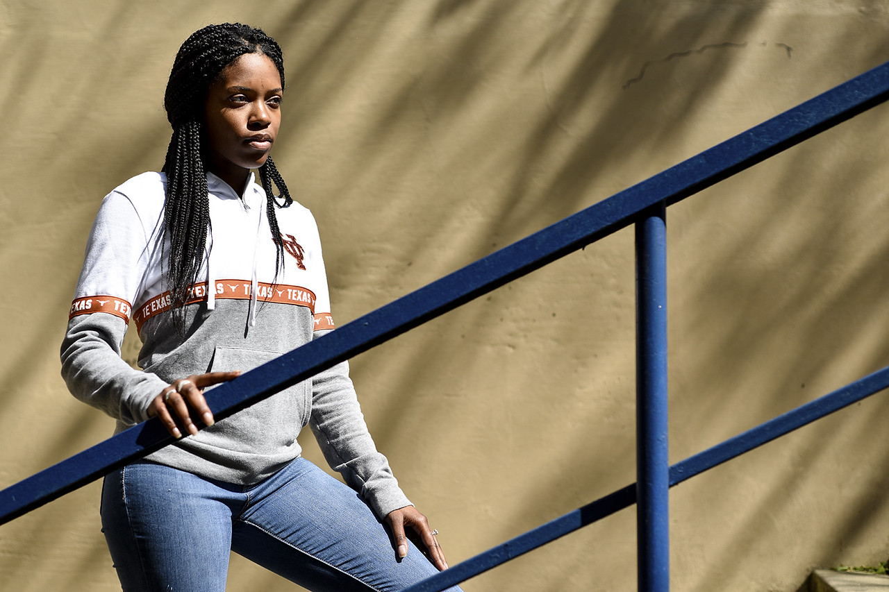 John Tyler senior Amaya Fields poses for a photo at John Tyler High School in Tyler, Texas, on Wednesday, March 22, 2017. Fields was recently named student of the month, and is also is in the army. (Chelsea Purgahn/Tyler Morning Telegraph)