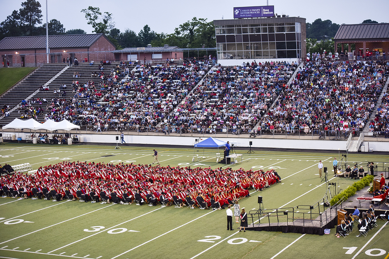 Robert E. Lee High School's graduation ceremony at Trinity Mother Frances Rose Stadium in Tyler, Texas, on Friday, June 2, 2017. Thousands of friends and family members came to see the hundreds of seniors walk the stage for graduation. (Chelsea Purgahn/Tyler Morning Telegraph)
