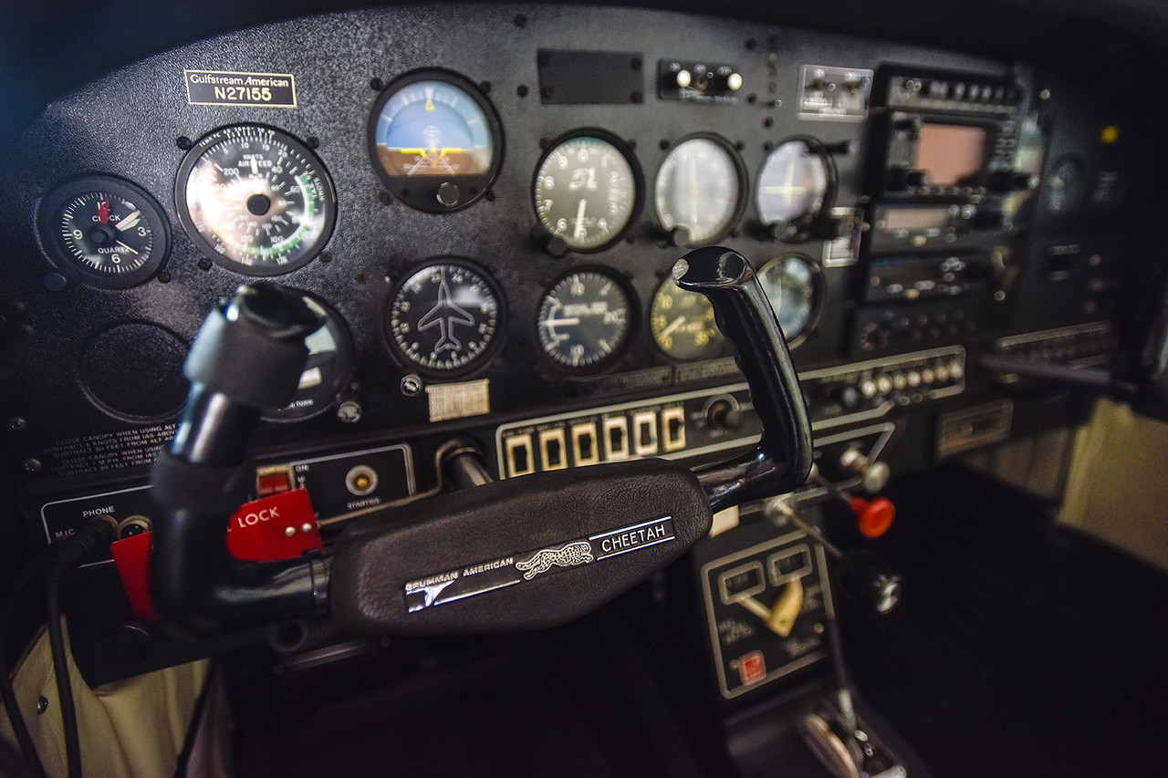 The controls of Louis Thomas', president of the Historical Aviation Memorial Museum, airplaine, photographed at Tyler Pounds Regional Airport in Tyler, Texas, on Tuesday, May 16, 2017. The HAMM staff works to preserve the history of aviation and will be sharing the knowledge during an aviation camp June 27 through July 1 for children 12 to 15 years old. (Chelsea Purgahn/Tyler Morning Telegraph)