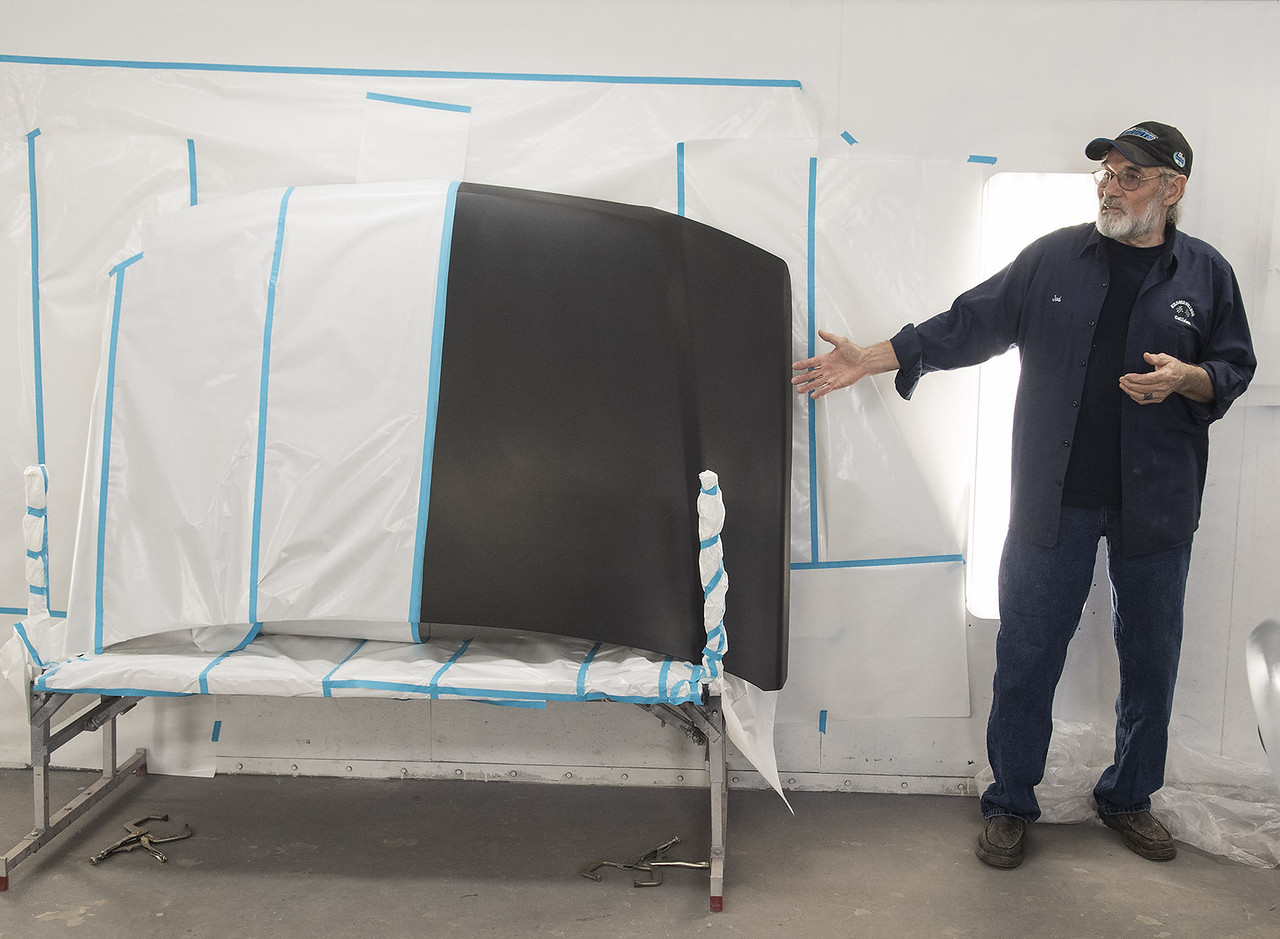 Kilgore College Auto Body Repair Technology instructor Joel Laws talks about differences in primer used on hoods for repairs Monday May 17, 2017 at the college's auto body shop.  (Sarah A. Miller/Tyler Morning Telegraph)