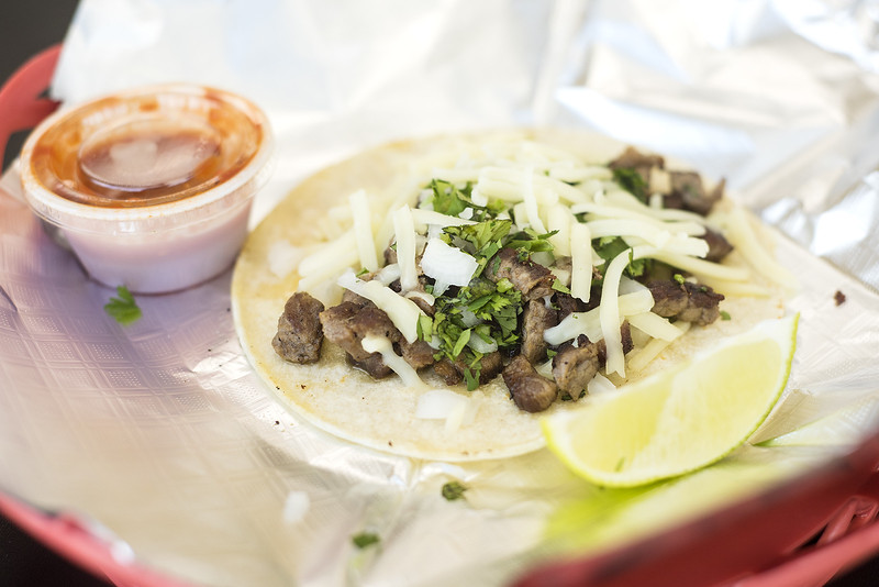A taco at UT Donuts & Tacos in Tyler, Texas, on Wednesday, Aug. 23, 2017. The new restaurant serves donuts, kolaches, tacos, seafood and more across from The University of Texas at Tyler's campus. (Chelsea Purgahn/Tyler Morning Telegraph)