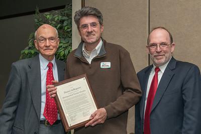 Distinguished Teacher Finalist Dan deRegnier with Dr. Robert Friar and Provost Fritz Erickson.