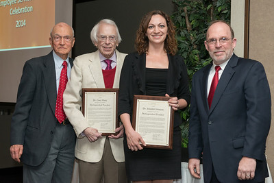 Distinguished Teachers Dr. Gary Huey and Dr. Jennifer Johnson with Dr. Robert Friar & Provost Fritz Erickson.