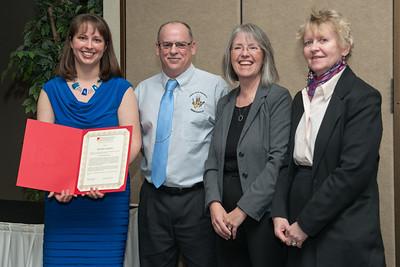 Distinguished Staff Jennifer Amlotte with Craig Bowman, Shelly VandePanne and Pam Muccio.