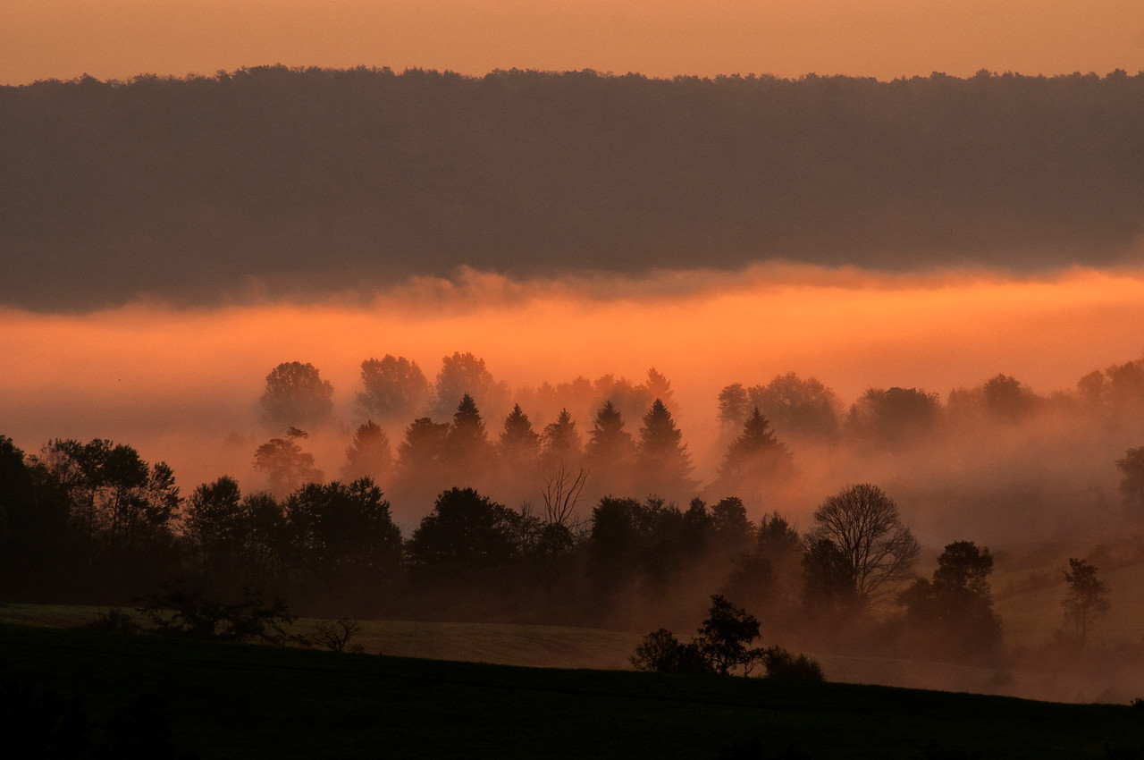 September 27 - Late September and October bring valley fog which are golden photographic opportunities.  Valley fog in the Town of Columbus.