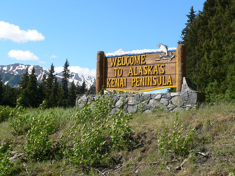 Sign southbound along Seward Highway upon leaving the Turnagain Arm area