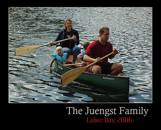 Phil, Erika, Peter, and Ella during the inaugural rowing of my Old Towne Canoe!  It was a perfect day for it!  Switzer Lake, 9/2006.