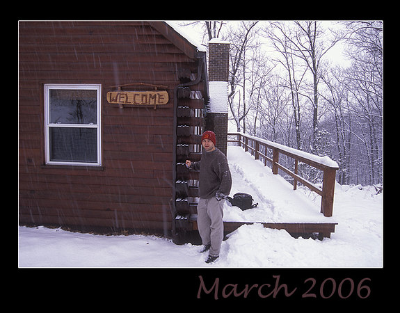An unexpected snowfall in March 2006 made for some beautiful scenery around the cabin.