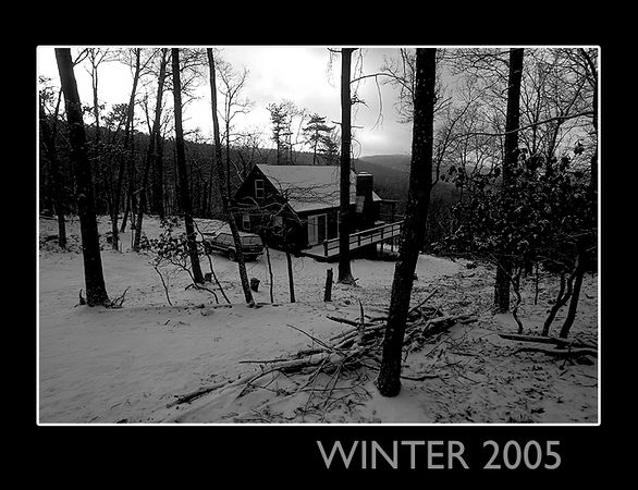 There were only a few snow storms during the early months of 2005.  On this particular day, it was very cold outside, but the cabin was warm and cozy inside.
