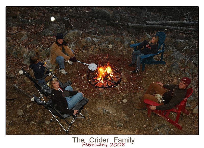 """The Crider Family (Kevin, Jennifer, Matthew, Sarah, and Julia) made their annual trek in February 2008.  We had a great time inside the cabin (karoke: """"It's the Final Countown..."""") to a freaky snowstorm in the late evening while at the campfire.  Kevin's family truly enjoys the cabin experience!  I welcome them back at any time and hope the children will always appreciate the freedom of nature."""