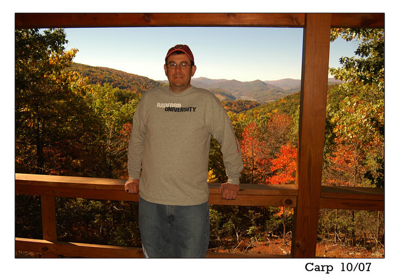 Mike Carpenter, a good friend and coworker, made the 3-hr trek from Loudoun Cnty, VA to the cabin in Oct. 2007.  He and his wife Sharon had previously visited in Sept. 2005.  We had a lot of laughs and enjoyed a great campfire and some favorite tunes and stories.