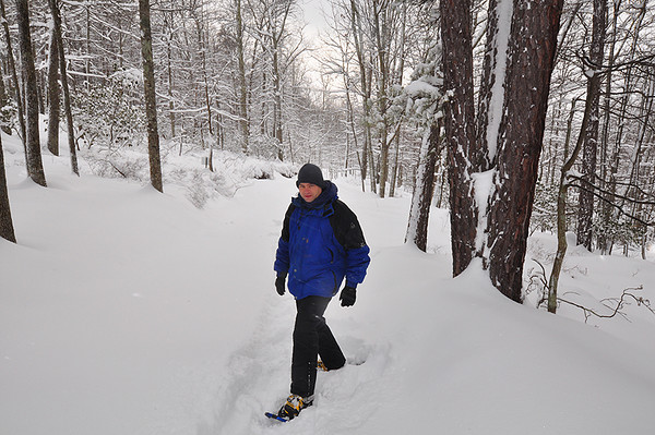 Me trekking the mountain in snowshoes.  The cabin area received about 17-20 inches of snow during the Blizzard of 2010.  I was lucky enough to get out of D.C. area in time to enjoy some great hiking in the snow.  Taken 2.6.2010.