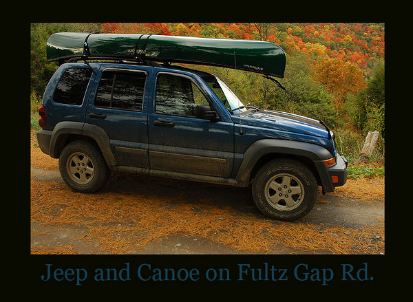 My Jeep Liberty with Canoe on board headed down Fultz Gap Road during the peak of autumn's colors.