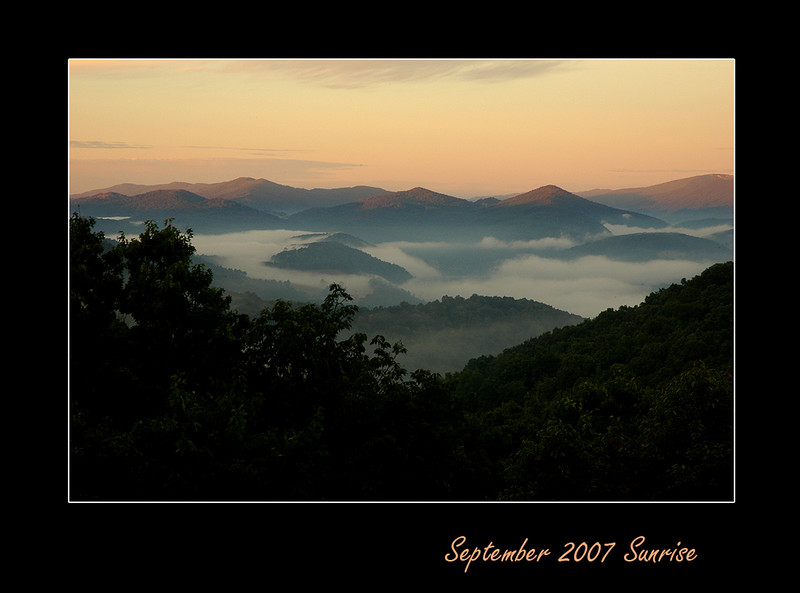 "The timeframe between late September to mid-October is the best time to catch an early morning sunrise at the cabin.  The humidity/cluods gets trapped in the valley during the cool night, creating a classic early morning ""Smoky Mountain View""."