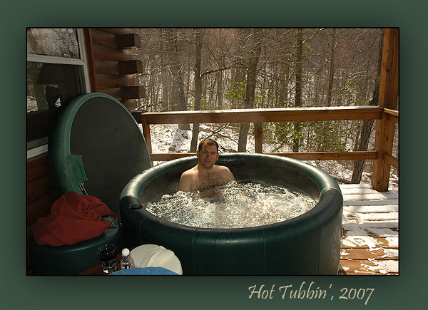 The small soft-sided hot tub I added to the deck in the summer of 2006 is a good place to relax after walking the steep grades on the mountain, or it can simply be a great place to take in the mountain view from the deck.  It's a favorite of the guests and is filled for most of the year.  It's best enjoyed during a mountain snowstorm!
