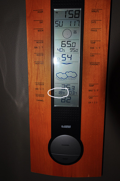Sometime between December 2009 and the middle of January 2010, my indoor/outdoor temperature reader recorded an outdoor temp. of minus 18.9 degrees (F)!  The maximum temp. is usually skewed by direct sunlight. Brrr...a cold winter.