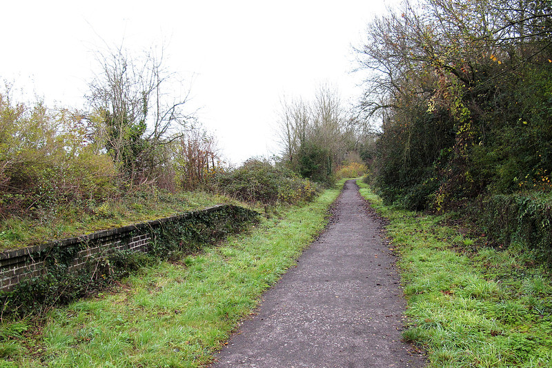 The Trailway through Spetisbury, it's previous life as a railway is betrayed by the platforms still visible at the path edge.