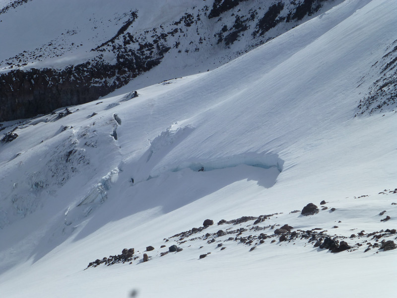 Zoomed in shot of the Whitney Glacier from the Shastina-Shasta saddle.