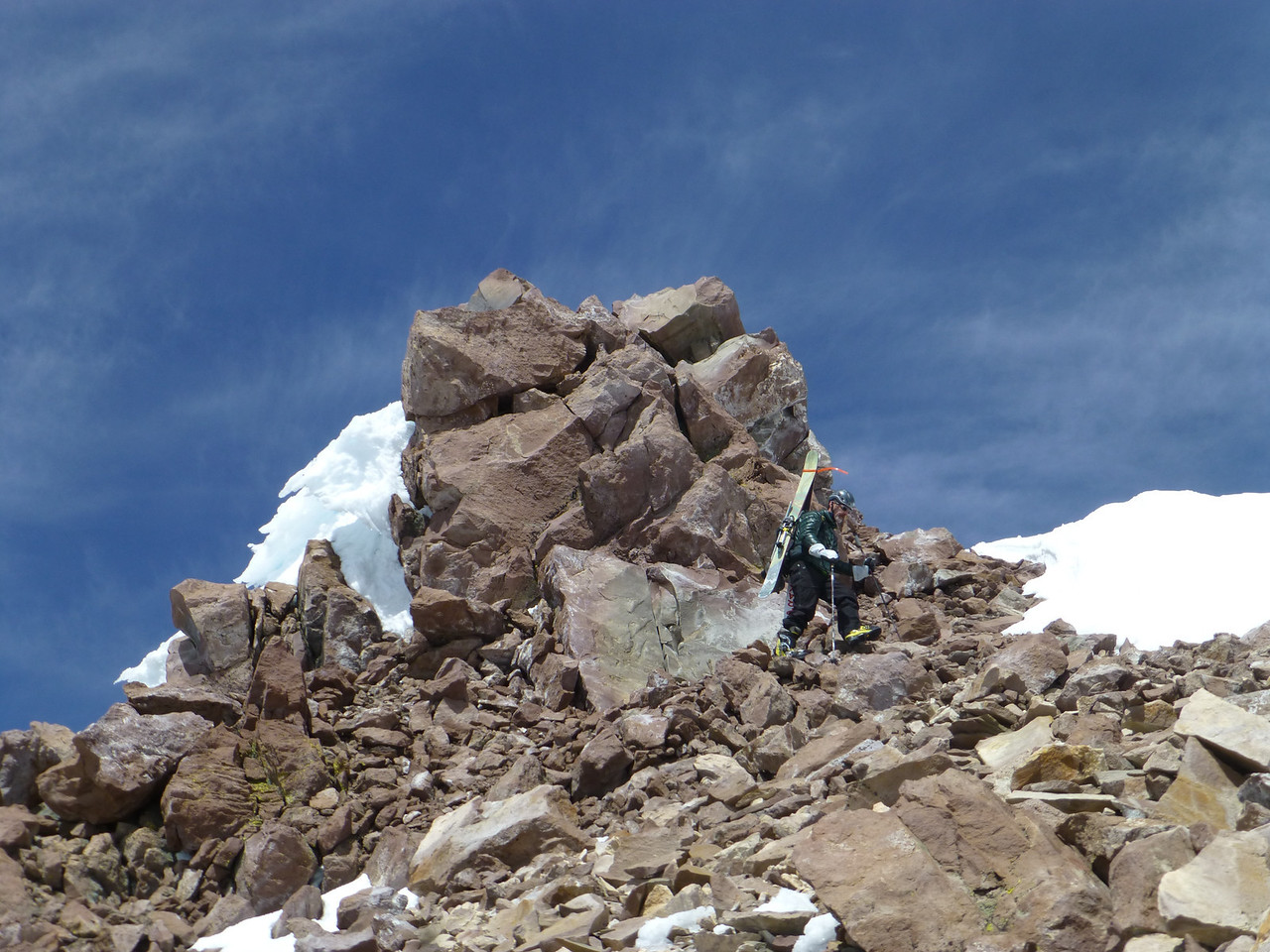Rick coming down off the summit of Shastina.