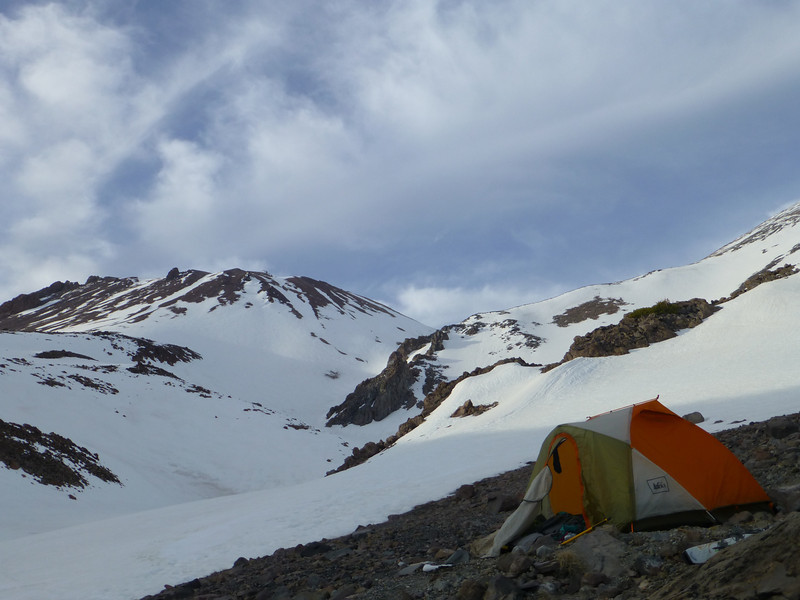 Our campsite with Shastina in the background.  Lightning Bolt Couloir visible going down to the left off the summit crater of Shastina.