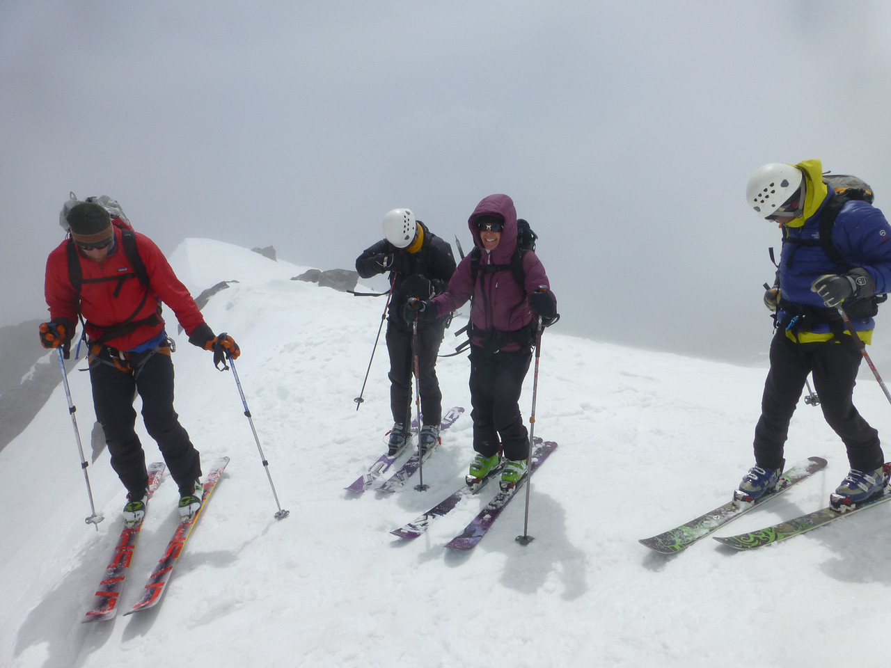 Saturday's high point of 10,000 feet, Giddy Giddy saddle, followed by a descent with beautiful snow off Casaval Ridge into Avalanch Gulch.  A great day of skills practice and skiing.  Best snow on Shasta I've seen this season.