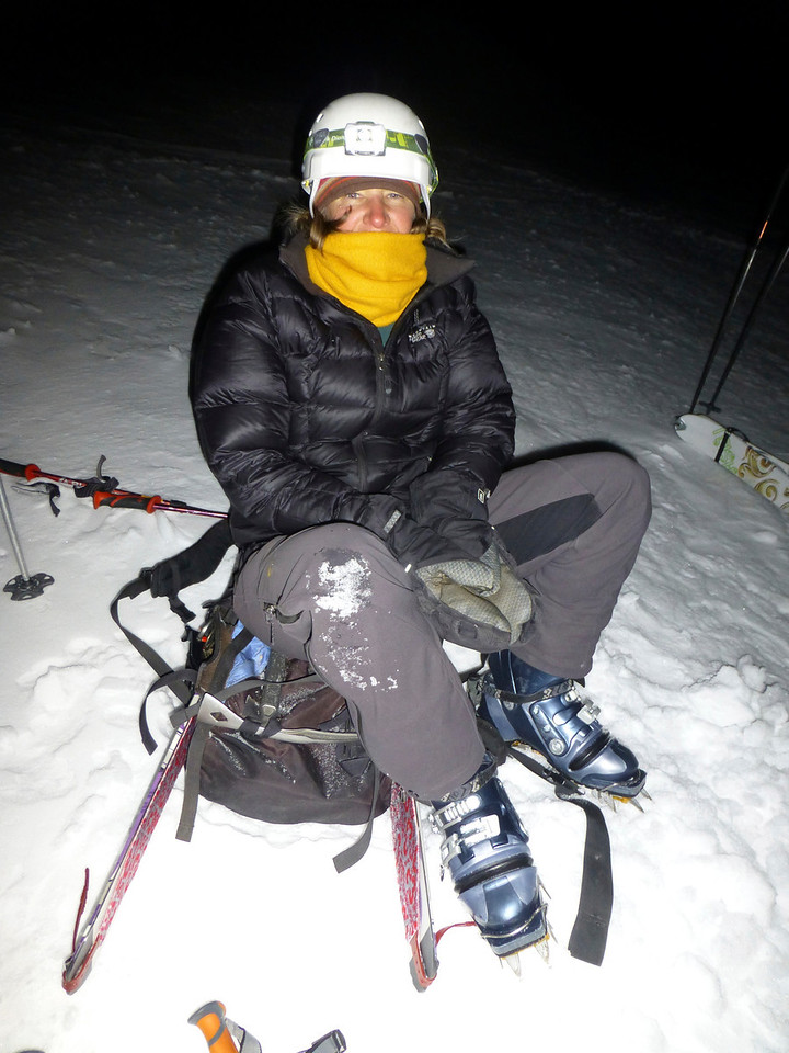 After a 12:00am start Sunday from 8000 feet, we skinned to approximately 10,000 feet where we switched to crampons.  It was cold at 4am, in the low 20's.