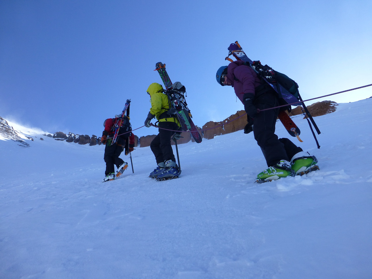 Tucker continues to lead the team up Avalanche Gulch, left of heart, towards the top of the Red Banks.