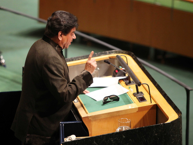 "Shatrughan Sinha MP and  Member of Indian Delegation speaking to United Nations General Assambly on World Social Situation and Youth Ageing"" on 31st Oct 2011...pic Mohammed Jaffer-SnapsIndia"