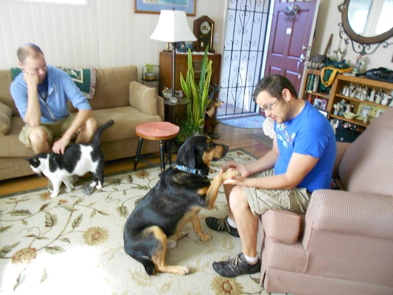 John, Stan, Dewey and Bayou waiting for breakfast 9/15/13