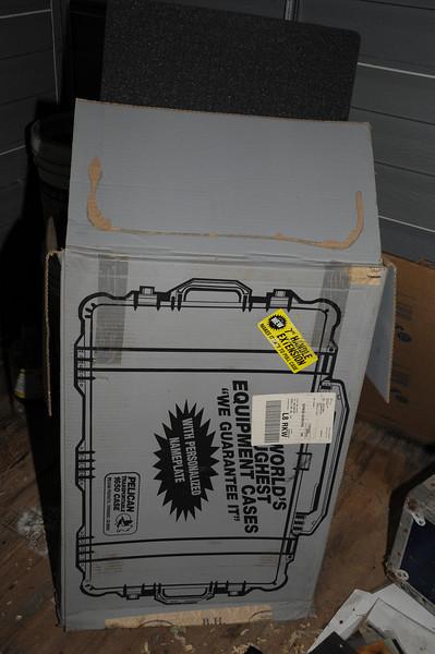 Box with unused Pelican Case foam inserts