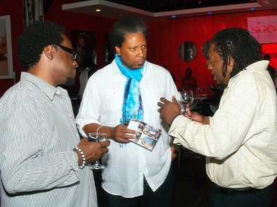 (C) William Chapman, Co-Founder of Nairobi Professional Products chatting with Co-Founders Eric Rainey and Rodney L. Oliver of Rain Works Marketing LLC, firm who represents Moreno BHLV Fine California Sparkling Wine in the Georgia and South Carolina markets. http://www.morenobhlv.com/