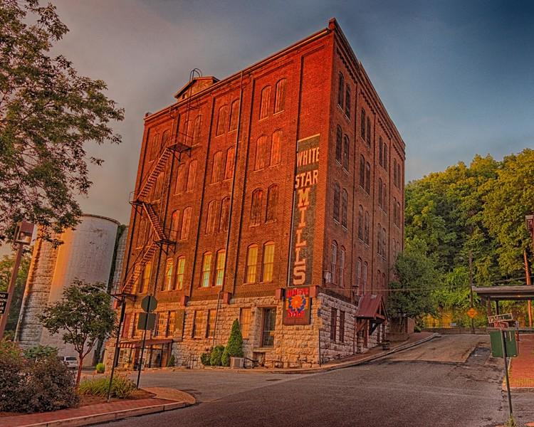 Old White Star Mills building, Staunton, at sunrise