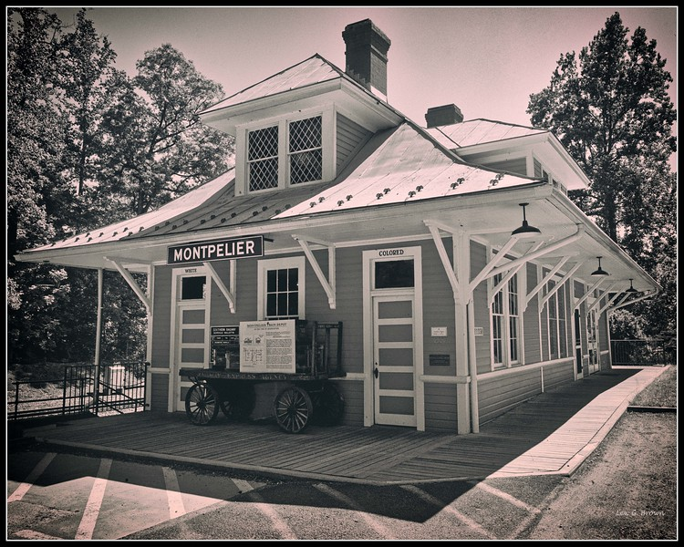 "Montpelier Train Station, preserved, with ""white"" and ""colored"" waiting areas"